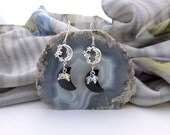 Silver and Crystal Crescent Moon Earrings