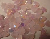 Lavender heart pearlized  flatbacks  6 mm       more than  50 pcs