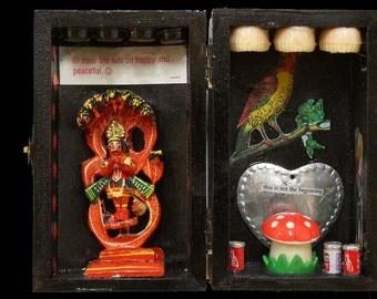 Toadstool teeth shrine, Hand-made icon box with found treasures.
