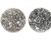 Custom listing for Rebecca Longsdorf 8mm white druzy round B31DR8015 2 pieces
