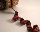 Pink Navy and Red Flame Stitch Jacquard Ribbon from Kaffe Fassett--One Yard