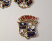 Heraldic Shield Design Metallic Thread Hand made Blazer Crest--One Piece