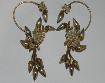 RARE 1940s Vintage Faux Pearl WRAP Earrings