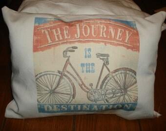 Shabby style Bicycle Bike Journey is Destination Decorative Pillow vintage