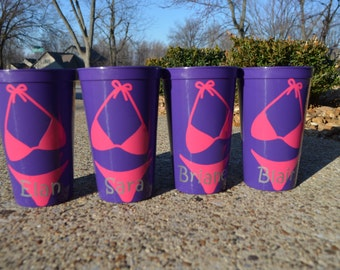 Personalized Bachelorette Cups, Set of 4 Tumblers, Beach,Bikini, Party Cups, Girls Weekend