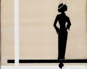 Original Painting vintage silhouette canvas woman 1920s