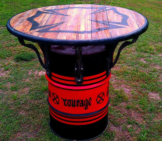 Items Similar To Firemans Values Pub Man Cave Drum Table 32 On Etsy