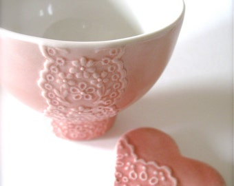 Lovely Peach Pink Porcelain Lace Bowl with Heart Lace Cutlery Rest Set -Hideminy Lace Series