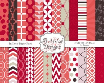 Digital Valentine Paper Pack  - Personal and Commercial Use - In Love
