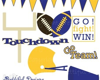 Football Clip Art - Personal or Commercial Use Blue and Yellow