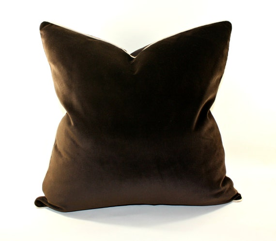 Velvet Pillow Cover Chocolate Brown Decorative Pillow Cover