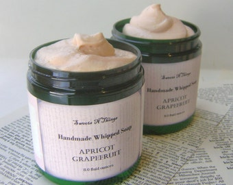 Apricot Grapefruit Whipped Soap, Cream Soap in a Jar, Natural Vegan Soap