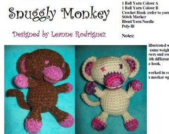 Snuggly Monkey - Digital Download PDF Crochet Pattern - Easy