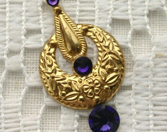 SALE - Purple Velvet Bindi in Bright Gold