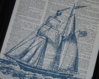 BOGO SALE Blue Sail Boat Dictionary Art Print Sail Boat Print Book Print Upcycle Art Print Dictionary Page