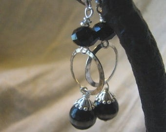 tibetan agate and silver dangle earrings