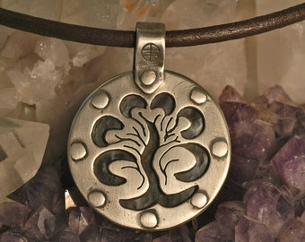 Sterling Silver Tree of Life/Sun Pendant, Double Sided, Handmade, Riveted
