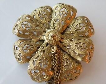 On Sale FREIRICH flower brooch, pin. Filigree, tassels.