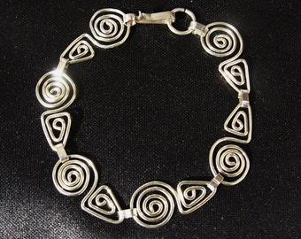 Sterling Silver Swirls and Triangle Bracelet **Reduced**