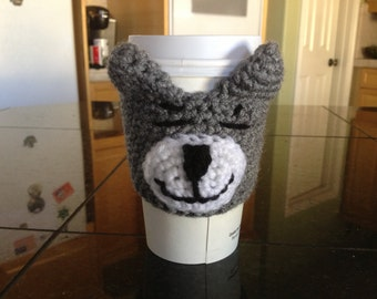 Grey and White Tabby Cat Coffee Cozy Amigurumi