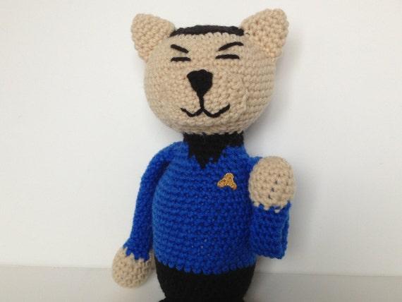 Star Trek Spock Crochet Cat Blue Shirt Amigurumi