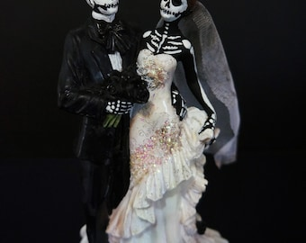 Skeleton Bride and Groom- Altered Figurine (free shipping)