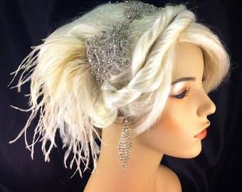Gatsby Wedding, Wedding Headband, Wedding Hair Accessory , Bridal Hair Accessory, Rhinestone Headband, Hollywood Royalty, Champagne