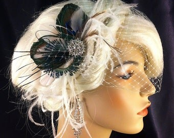 Bridal Feather Fascinator, Bridal Fascinator, Feather Fascinator, Ivory Fascinator, Fascinator, Wedding Veil, Bridal Headpiece, Bridal Veil