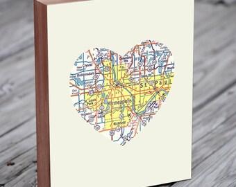 Minneapolis Art - Minneapolis Map - Minneapolis Print - City Heart Map - Wood Block Art Print