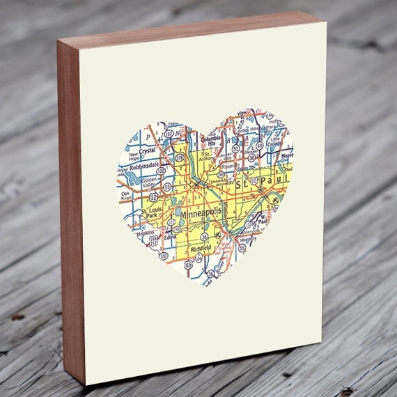Minneapolis Art - Minneapolis Map - Minneapolis Print - City Heart Map - Wood Block Art Print