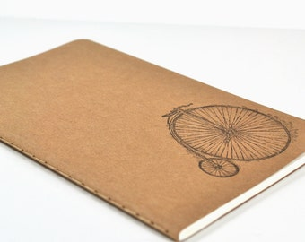 Kraft Brown Pocket Moleskine Cahier Notebook Hand Stamped with Antique Bicycle Image