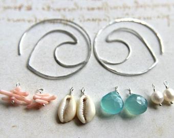 Interchangeable Hoop Earrings, Silver Wave Earrings, Beach Hoop Earrings, Mix and Match, Peach Aqua Earrings, Hammered Gold Hoops