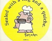 """Vintage 80's Sandra Boynton Pig """"Sealed with a Hog and a Quiche"""" Sticker"""