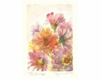 """The Zinnias, a 4""""x6"""" print of a watercolor with flowers pink and orange, printed on 8.5""""x11"""" paper"""