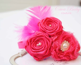 Hot Pink  and Chiffon Roses  Headband with Pearls  Rhinestones and Feather Chabby Chic Style