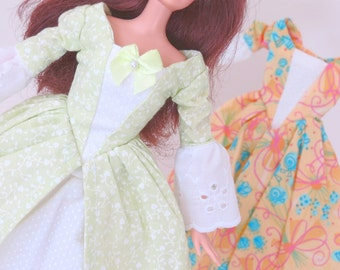 Barbie Dress Set: Pale Green Vines and Blue Bouquets on Peach