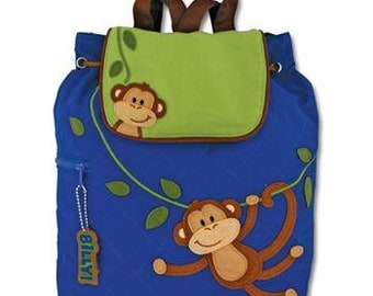 SHIPS NEXT DAY--Personalized Monogrammed Stephen Joseph Quilted Toddler Boy Monkey Backpack Free Monogramming--