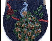 Glass Peacock Pictoral Beaded Bag circa 1930's