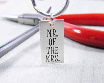 key chain men's hand stamped sterling silver key ring, aniversary, wedding gift, groom's gift