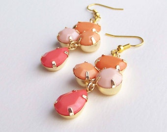 Peach Pink Coral Drop Dangle Gold Earrings