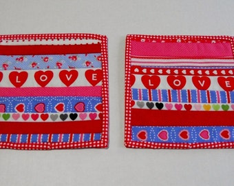 Valentine Coasters, Quilted Mug Rugs, Snack Mats, Barware Drinkware, Selveges, Set of Two, Red Blue Pink