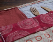 Red Portable Placemat with Reusable Cloth Napkin