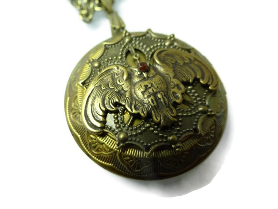 Owl Locket Antiqued Brass Owl Photo Locket Necklace  with hand patina by Dr Brassy Steampunk