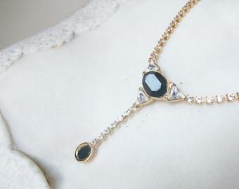 Monet Black Faux Gold Rhinestone Necklace //