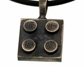 Building Block Pendant - Antiqued Sterling Silver - Handmade - Interchangeable Bricks