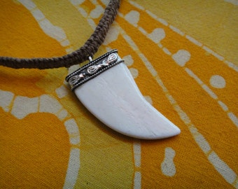 Buffalo Bone Tusk Pendant Hemp Necklace / Choker Tribal Hippie  Jewelry for Him Mens