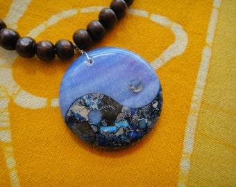 Yin Yang Stone Prayer Bead Long Custom Necklace Agate Pyrite
