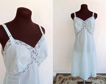 Vintage 60s Full Slip Pastel Blue By Wonder Maid Size 38 Lingerie