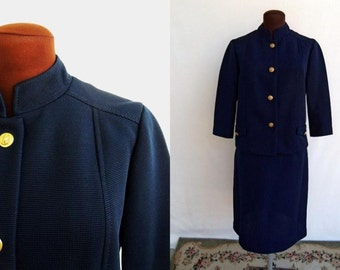 Vintage 60s Skirt Suit Navy Blue Ribbed Double Knit with Gold Buttons Nautical Size M / Medium