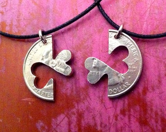 Two Hearts Couples Necklaces or Keychain Set